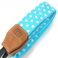 Blue with White Polka Dots Camera Strap Photographers Gift - CAST30