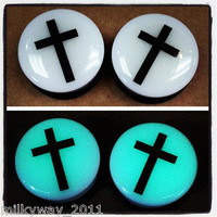 CROSS WHITE ACRYLIC GLOW IN THE DARK EAR PLUGS GAUGES SINGLE FLARE O RING