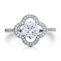 Sterling Silver 925 Floral Micro Pave Cushion Cut Cubic Zirconia Ring #r431