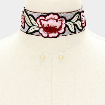 """12"""" flower leaf embroidered patch choker necklace 1.75"""" wide .25"""" earrings"""