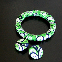 African Fabric-Covered Earring and Bangle Set - Green and White