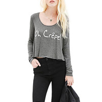 Solid Color Crop Top With Long Sleeve