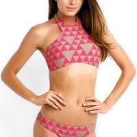 Pink and Brown Triangle Print Halter Bikini