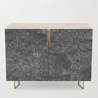Grey and black swirls doodles Credenza by savousepate
