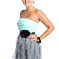 Strapless Ruffled Two Tone Prom Dress