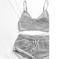 Women Short Sexy Pajamas Tank and Camisole Cami Set New Spring and Summer Home Furnishing clothing Cotton Nightwear Suit
