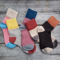 5 Pairs Women Wool Cashmere Thick Warm Soft Solid Casual Sports Socks Winter