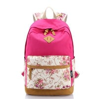 Rose Floral Cute Canvas Travel Backpack Daypack Bookbag+ free gift elephant ring