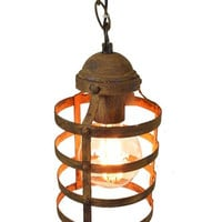 Industrial Rustic Metal Drum Hanging Pendant Lamp with Matching Ceiling Canopy