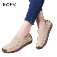 EOFK New Spring Autumn Women Moccasins Women's Flats Suede Genuine leather Shoes Woman Lady Loafers Slip On Flat Shoes