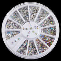 6 Design Shiny AB Acrylic Bow Water Droplets Nail Art Decorations Tips 3D Charms Nails DIY Glitter Wheel Manicure ZP025
