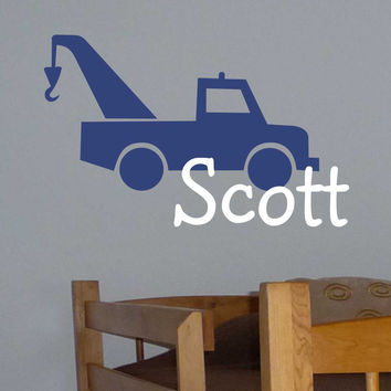 Tow Truck Silhouette Personalized Boy Name Vinyl Wall Lettering Decal