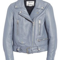 Light Blue Lambskin Moto Jacket by Acne Studios