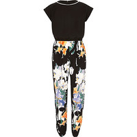 River Island Girls black floral sporty jumpsuit