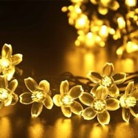 lederTEK Solar Christmas Flower Starry Fairy String Lights 21ft 50 LED Blossom Decorative Light for Garden, Patio, Tree, Party, Bedroom, Xmas Decorations, Indoor and Outdoor decor (Warm White)