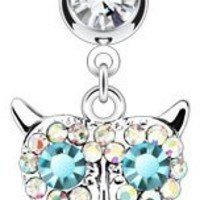 14g Surgical Steel Double Jeweled Clear Pave Gem Owl Dangle Belly Button Ring