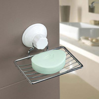 Suction Cup Soap Tray Plastic and Metal Soap Dish Holder Storage Box for Bathroom Shower Basket Tray Rack Home Accessories