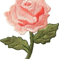 """[Single Count] Custom and Unique (2 1/4"""" by 2 1/2"""" Inches) Spring Gardens Flower Single Fully Bloomed Rose Iron On Embroidered Applique Patch {Hues of Pink and Green}"""