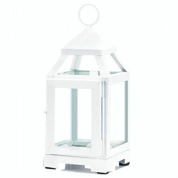 Contemporary White Candle Lantern - 9 inches