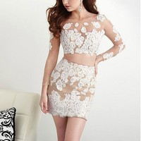 [71.99] Elegant Two-piece Tulle & Chiffon Bateau Neckline See-through Sheath Homecoming Dresses With Hot Fix Rhinestones & Lace Appliques - dressilyme.com