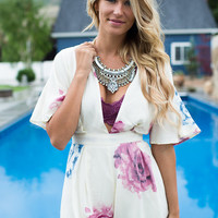 Don't Forget To Remember Me Romper Cream/Plum