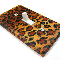 Leopard Print Light Switch Cover Bedroom Decor Brown Cheetah Print Decoration 1292o