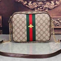 Gucci Women Leather Shoulder Bag Crossbody Satchel Khaki Shopping Small bag Square bag Little Bee bag