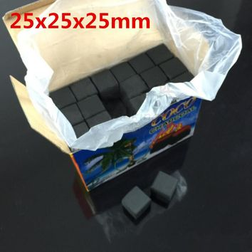 72pcs 1box square Slow burning coconut shell charcoal 25x25x25mm Hookah Charcoal Shisha fully burning coal for hookah