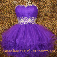 Cute sweetheart purple mini princess dress from Cute Dress