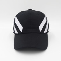 Black Off White Embroidered Adjustable Cotton Baseball Golf Sports Cap Hat