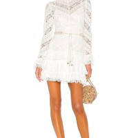 White Lace Ruffle Mock Neck Mini Dress