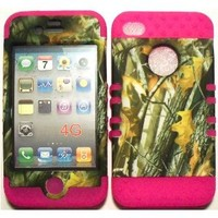 Camo 2 Oak Tree on Pink Silicone Skin for Apple iPhone 4 4S Hybrid 2 in 1 Rubber Cover Hard Case fits Sprint, Verizon, AT&T Wireless