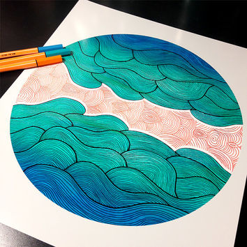 Ocean Core Illustration Art Print – 8x 10 or 11 x 14 Poster