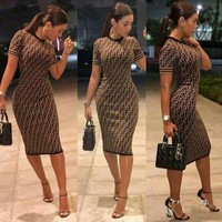 FENDI Fashionable Women Sexy F Letter Short Sleeve Round Collar Knee-Length Dress Coffee I12370-1