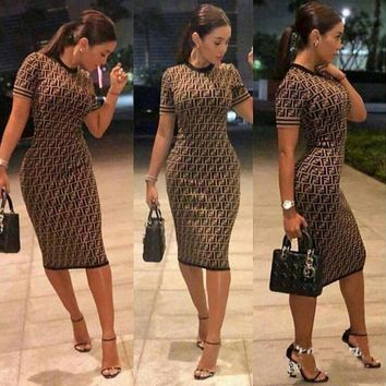 FENDI Classic Fashionable Women F Letter Print Short Sleeve Show Body Knee-Length Dress Coffee