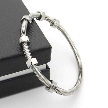 BeadyBoutique Love Bracelet Screws and Bolts White Gold