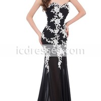 2016 Sweetheart White Applique Formal Evening Gown Elegant Long Evening Dresses Chiffon Black Mermaid Gown