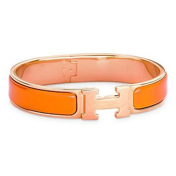 Hermes men and women tide enamel Palladium wide palladium bracelet F Orange+Gold