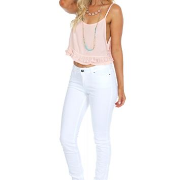 Low Rise White Skinnies