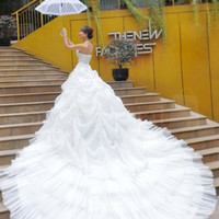 Glamourous Ball Gown Halter Neckline Pearls Wedding Dress from Specialdresses