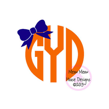 5 in x 4.5 in Monogram Decal with Bow - Personalized Sticker for Laptop Tablet Car - Tons of Color Choices Patterns Glitter Vinyl
