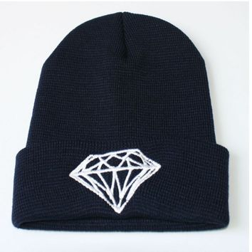 Diamond Beanie Knitted Winter Warm Navy Blue & White Cuffed Skully Hat