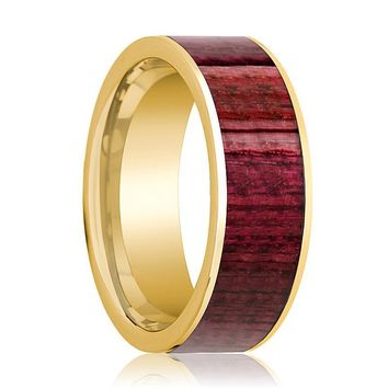Polished 14k Yellow Gold Flat Wedding Ring for Men with Purpleheart Wood Inlay - 8MM