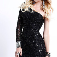 One Sleeve Sequin Cocktail Dress by Shail K