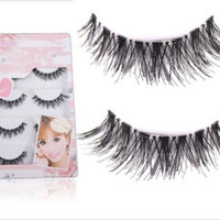 New 5Pairs Long Cross False Eyelashes Makeup Natural Fake Thick Black Eye Lash