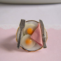 Breakfast Ring Miniature Food Ham And Egg Ring Adjustable Size
