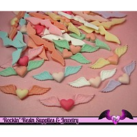5 Pcs HEART WITH WINGS Flatback Kawaii Decoden Resin Cabochons 53x15mm