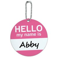 Abby Hello My Name Is Round ID Card Luggage Tag
