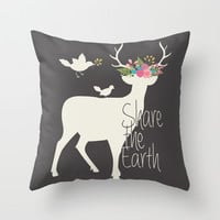 Share the Earth Throw Pillow by Bohemian Gypsy Jane