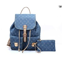 Louis Vuitton LV Fashion Women Canvas Tote Double Shoulder Bag Backpack Purse Wallet Set Two-Piece 1#